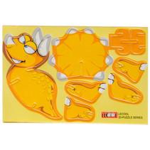 3D-puzzel dino jongens 10,5 x 7,5 cm karton geel