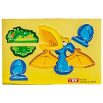 3D-puzzel dino 10,5 x 7,5 cm karton geel/blauw