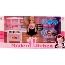 tienerpop Modern Kitchen blond 15 cm roze 11-delig