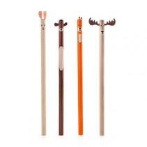 potloodset Woodland junior hout oranje/grijs/bruin