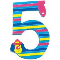 cijfer 5 Clowns hout 8 cm