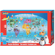 kleurplaat en puzzel Wereld 49 cm karton 100 stuks