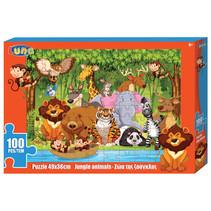 kleurplaat en puzzel Jungle 49 cm karton 100 stuks
