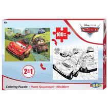 kleurplaat en puzzel Cars 49 x 36 cm karton 100 stuks