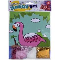 flamingo tekening met glitter 21 cm