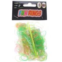 Fun Rings armband vlechten geel/groen/roze 313-delig