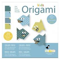origami Vis vouwen 15 x 15 cm 20 stuks multicolor