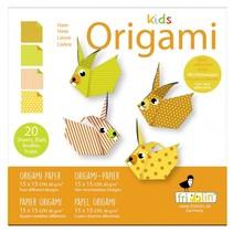 origami Konijn vouwen 15 x 15 cm 20 stuks multicolor