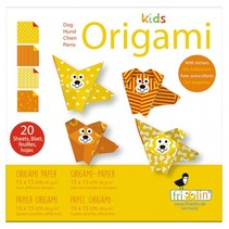origami Hond vouwen 15 x 15 cm 20 stuks multicolor