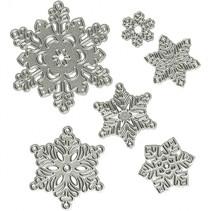 snijmallen sneeuwvlokken 2-6 cm zilver 6 stuks