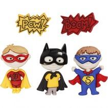 knopen met superhelden motief 3,5 cm 5 stuks