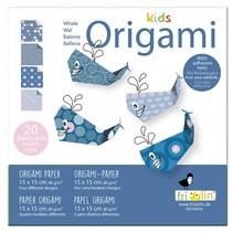 origami Walvis vouwen 15 x 15 cm 20 stuks multicolor