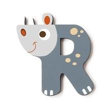 letter R neushoorn grijs 5.5 cm