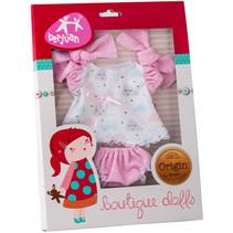 babypop-accesoire jurk meisjes 30 cm polyester roze/wit