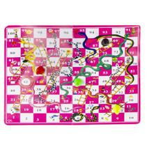 reisspel slangen en ladders spel 16,5 x 9 cm roze