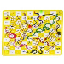 reisspel slangen en ladders spel 16,5 x 9 cm geel