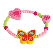 armband vlinder hart meisjes hout geel/roze/groen