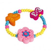 armband bloem en vlinders meisjes hout roze/blauw/geel