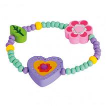 armband hart bloem blad meisjes hout paars/groen/roze
