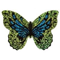 minivlieger vlinder met touw 10 cm geel/blauw