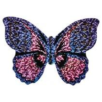 minivlieger vlinder met touw 10 cm paars/roze