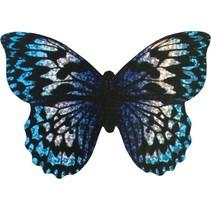 minivlieger vlinder met touw 10 cm blauw/zilver