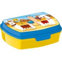 lunchbox lama 15 x 10 x 6 cm geel