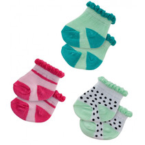 poppensokken Dotty polyester groen/roze 3 paar 28-35 cm
