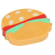 gum Hamburger junior 3 cm rubber bruin/rood/groen