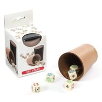 pokerbeker met dobbelstenen 13 x 8 cm leer 6-delig