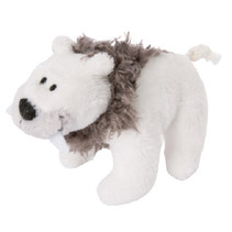 magneet sabeltandijsbeer junior 11 cm polyester wit/bruin