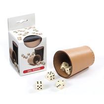 pokerbeker met dobbelstenen 13 x 7 cm leer 6-delig