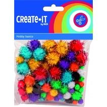 knutselset Create It - Pompoms Glitter 78 stuks