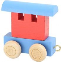 treinwagon hout rood/blauw 6 x 3 x 5,5 cm