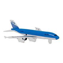 vliegtuig jongens 14 cm die-cast pull-back blauw/wit