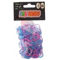 Fun Rings armband vlechten paars/blauw 313-delig