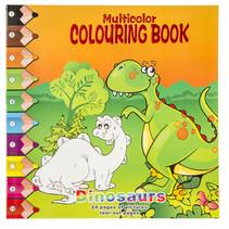 kleurboek dinosaurus 28,5 cm karton oranje/groen