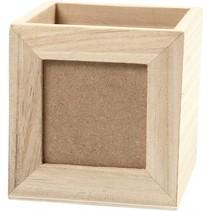 fotolijst/pennenbakje hout 10 cm blank per stuk
