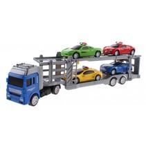 vrachtwagen met 4 auto's 32 cm multicolor