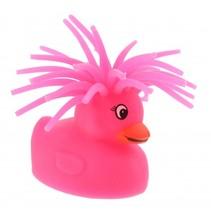 fluffy eend met licht 5 cm roze