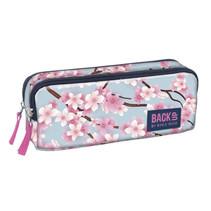 etui bloemen meisjes 22 x 11 cm polyester roze/blauw