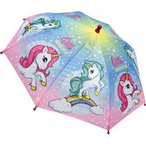 kinderparaplu meisjes 38 cm polyester roze/blauw