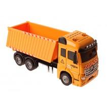 vrachtwagen met licht en geluid pull-back 17,5 cm geel