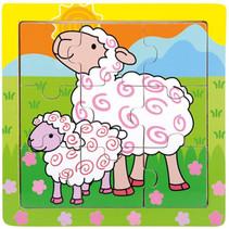 puzzel schapen junior 15 cm hout 9-delig