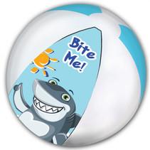 strandbal Shark junior 45 cm blauw/wit/grijs