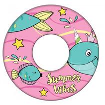 zwemring Whale meisjes 51 cm roze/blauw/geel