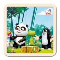 legpuzzel Little Mole & Panda in het bos junior hout 4-delig