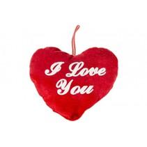 knuffel hart I love you 14 cm rood