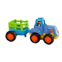 tractor met aanhanger junior 16 cm blauw/groen