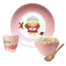 servies winter meisjes porselein roze/wit 4-delig